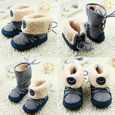 Newborn Baby Boys Toddler Infant Soft Sole Booties Snow Boots Crib Shoes 0-18M
