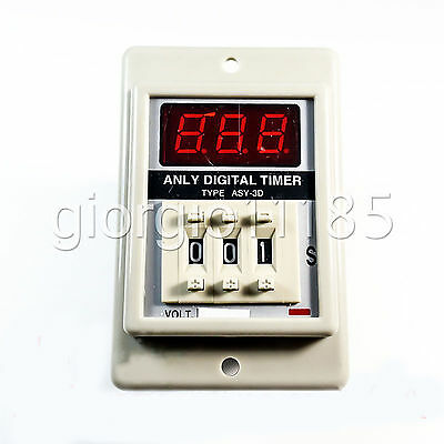 US Stock ASY-3D 1-999s DC12V Power On Delay Timer Digital Time Relay 8P W/ Base