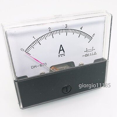 US Stock Analog Panel AMP Current Ammeter Meter Gauge DH-670 0-5A DC