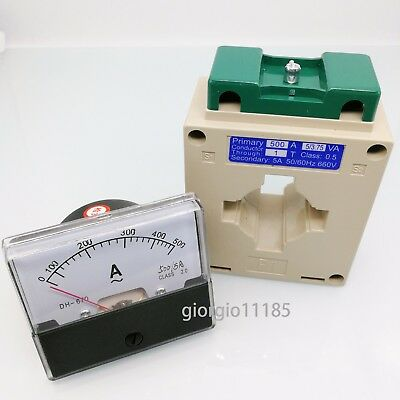 New Analog Panel AMP Current Meter Gauge DH-670 0-500A AC & Current Transformer