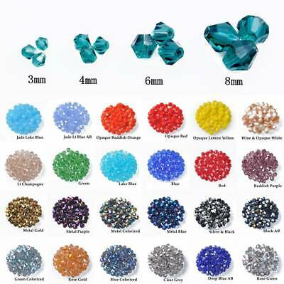 Wholesale 3mm 4mm 6mm 8mm Faceted Bicone Crystal Glass Loose Spacer Beads