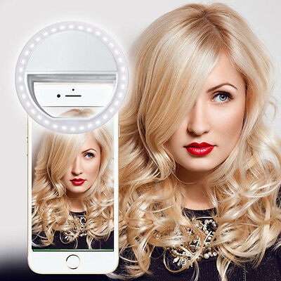 White Selfie 36 LED Ring Flash Fill Light Clip Camera For Iphone HTC Samsung LG