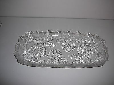 Heavy oblong glass serving plate platter flowers floral stunning cakes sandwich