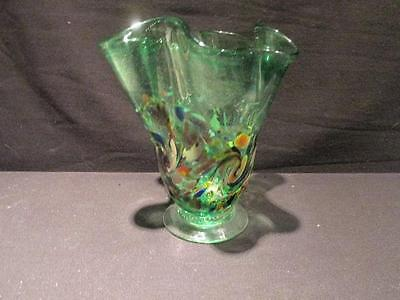 Ruffle Top Fan-shaped Vintage Art Glass Vase Green & End of Day Signed Arty Vero