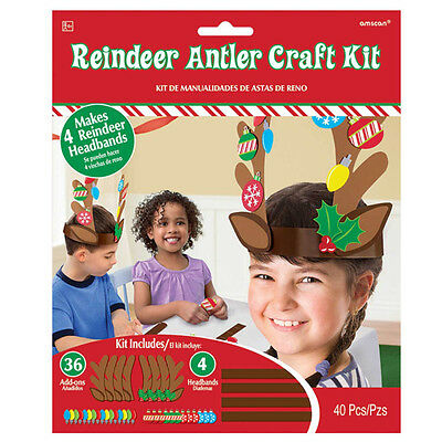 Christmas Reindeer Antlers Craft Kit Childs Christmas Party Activity Table Game