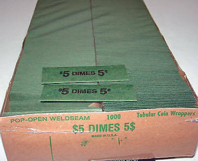 1000 Dimes Coin Old Style Flat Wrappers
