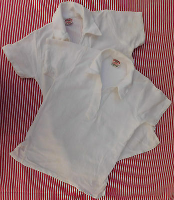 Vintage Aertex shirt Girls sports kit WHITE 1950s 60s school uniform SHOP SOILED