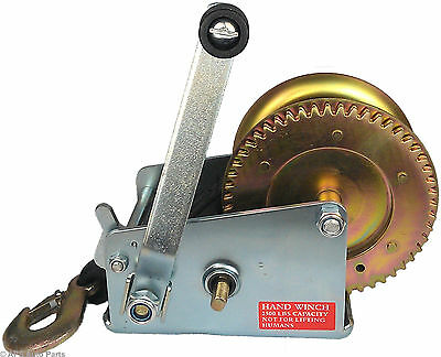 Manual Hand Winch 2500lbs Boat Trailer Caravan 6m 19ft Strap Length Marine Pull