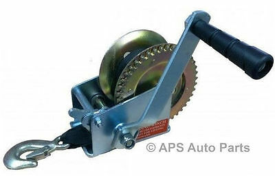 Manual Hand Winch 800lbs Boat Trailer Caravan 6m 19ft Strap Marine Puller