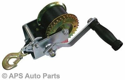 Manual Hand Winch 1600lbs Boat Trailer Caravan 6m 19ft Strap Length Marine Pull