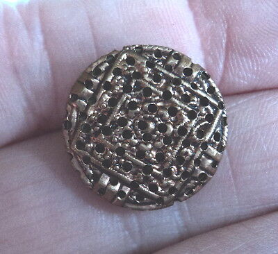 Art Deco Brass Delicate Filigree And Brass Back Button 3/4 Inch