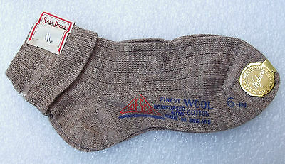 TRESCO short fawn socks vintage 1950s UNUSED girls wool cotton Nursery school