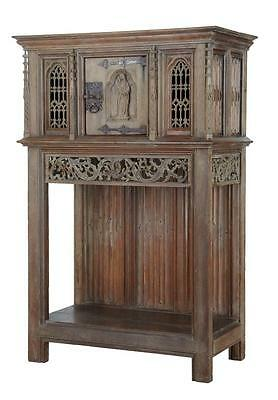 19Th Century Gothic Revival Carved Oak Cupboard