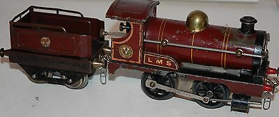 HORNBY SERIES O GAUGE CLOCKWORK No 1 LOCO IN LMS RED LIVERY WITH TENDER