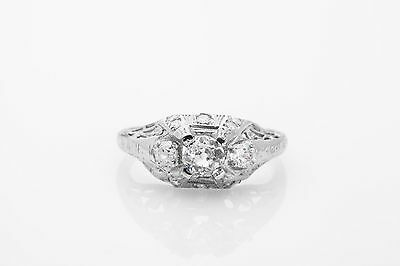 Antique 1920s $6000 1.15ct Old Euro Diamond Platinum Filigree Ring RARE