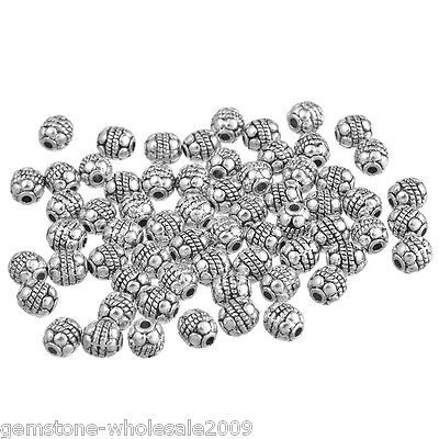 Wholesale Mixed Lots Silver Tone Carved Spacers Beads 5x5mm
