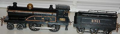 HORNBY SERIES O GAUGE CLOCKWORK No 2 LOCO IN LMS BLACK LIVERY WITH TENDER
