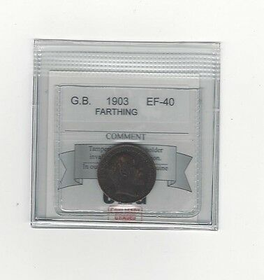 **1903**Great Britain, Farthing,  Coin Mart Graded**EF-40**