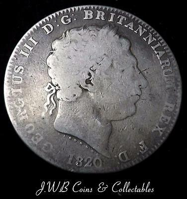 1820 George III Silver Crown Coin Great Britain - Ref; t/m
