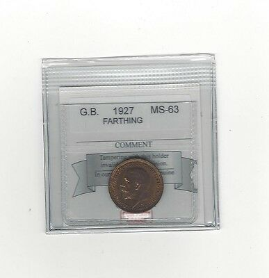 **1927**Great Britain, Farthing,  Coin Mart Graded**MS-63**