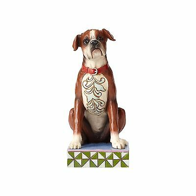 New JIM SHORE Figurine BOXER Heartwood Creek Statue PUPPY DOG Quilted Folk Art