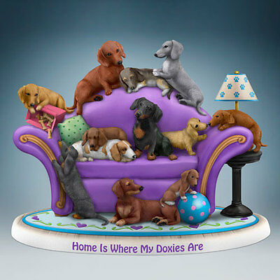 Home Is Where My Doxie s Are Dachshund Dog Figurine  - Bradford Exchange