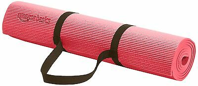 AmazonBasics 1/4-Inch Yoga and Exercise Mat with Carrying Strap Pink