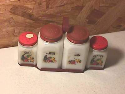 Old Milk Glass Range Set- 4 Shakers & Rack