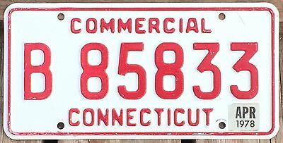 Connecticut 1978 COMMERCIAL TRUCK License Plate B 85833 - Natural Sticker!