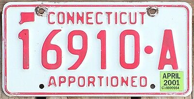 Connecticut 2001 APPORTIONED TRUCK License Plate 16910-A!