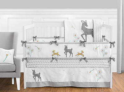 Gender Neutral Woodland Deer Girl Boy Baby Nursery Gray & White Crib Bedding Set