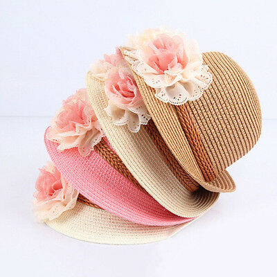 New Beautiful Toddlers Infants Baby Girls Flower Summer Straw Sun Beach Hat Cap