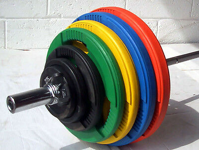 140KG Coloured Rubber Coated Tri-Grip Olympic Weight Set, 7ft 2 Barbell Bar, 4x5