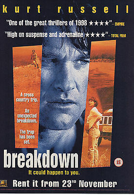 A4 Advert for the Video Release of Breakdown Kurt Russell