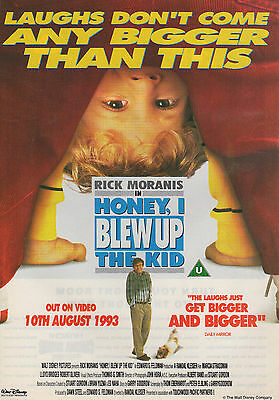 A4 Advert for the Video Release of Honey I Blew Up the Kid Rick Moranis