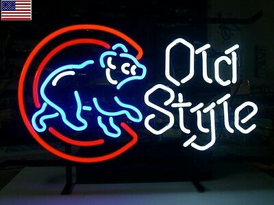 New Chicago Cubs Mlb Baseball Old Style Real Glass Neon Light Beer Bar Sign Usa