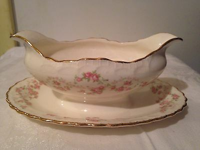 Pope Gosser Florence Gravy Boat With  Attached Underplate Shabby