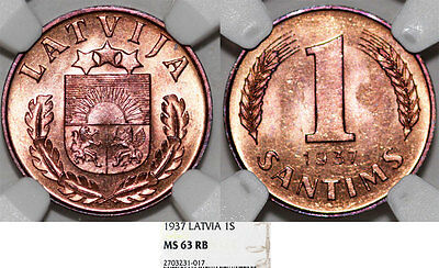 Latvia (ex Livonia). Republic (1918-1940). AE 1 Santims 1937. NGC MS63 RB