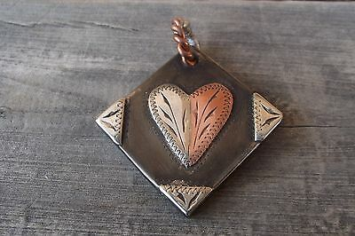 Handmade Copper and Silver Mounted Heart Pendant MKR/MRKD