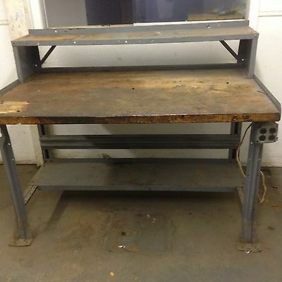 "WORK BENCH EQIPTO BUTHCER BLOCK TABLE METAL LEGS 60x36"" WITHSHELF RISER ELECTRIC"