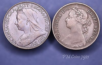 2 farthings 1888 1901 Victoria Young & Old Head 1/4d coins [7921]