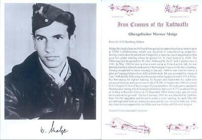 SPGL20 German Luftwaffe signed MOLGE JG26 Fighter Pilot