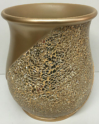 Popular Bath Sinatra Waste Basket, Champagne Gold Resin And Cracked Ice Look