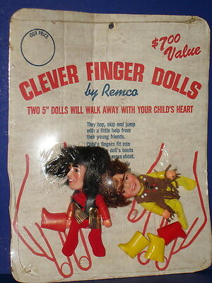 Monkees Clever Finger Dolls DAVY JONES & MICKY DOLENZ Puppets MIP! REMCO 1970