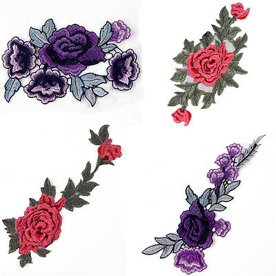 DIY Flower Embroidered Iron On Patch Sewing Fabric Applique Badge 4 Styles