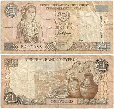 """1997 ISLAND Republic of CYPRESS """"One Pound"""" note, EARLIEST """"Cypriot Girl"""" ISSUE"""
