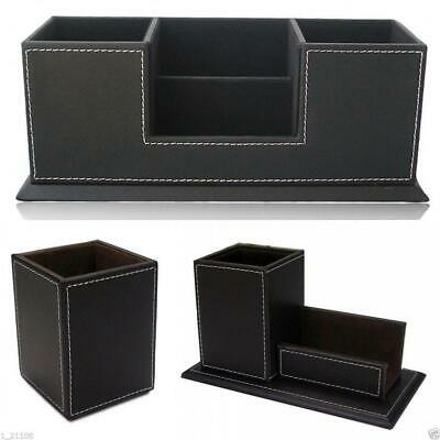 Business Office Desk PU Leather Pens Holder Organizer Container Box Size S/M/L
