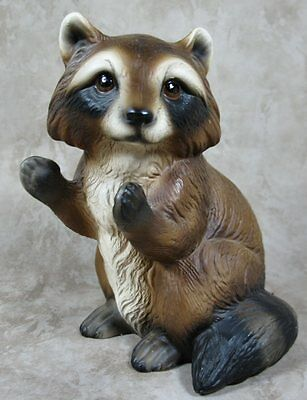 "Vintage Handpainted 5"" Raccoon Porcelain Figurine World Gift Japan"
