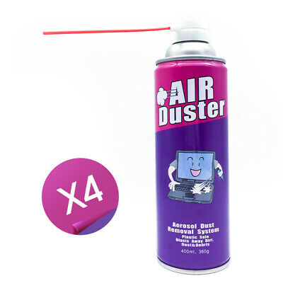 4x Compressed Air Duster Can Cleaner 400ml For Notebook Laptop PC Keyboard