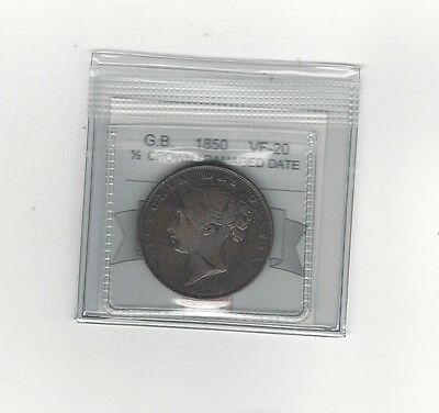 **1850**Great Britain, 1/2 Crown, Coin Mart Graded **VF-20**Damaged Date